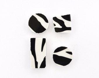 Broken China Magnet - Recycled Plates - Animal Print - Set of 4 - Plate Broken - Black and White