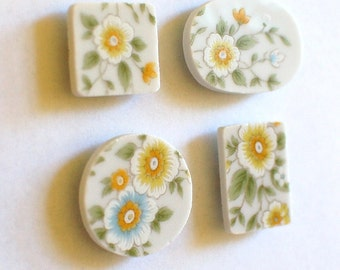 Broken China Magnet - Upcycled - Recycled Plate - Yellow Flowers - Set of four