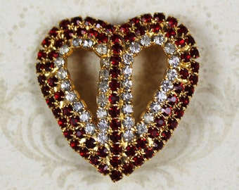 Vintage Red and Clear Gold Rhinestone Heart Brooch