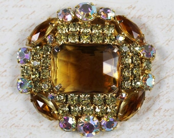 Vintage Citrine and Clear AB Finished Open Back Rhinestone Gold Brooch