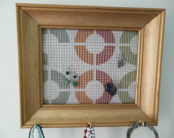 2 Framed Jewelry Organizers Wall Mounted Gold Frame Display Grid With Designer Fabric Backing