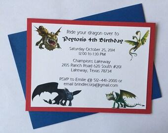 Dragons Birthday Invitation Set of 10