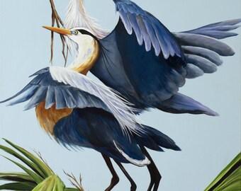 "BLUE HERONS NESTING **  11"" x17"" Print of Original Acrylic on Canvas"