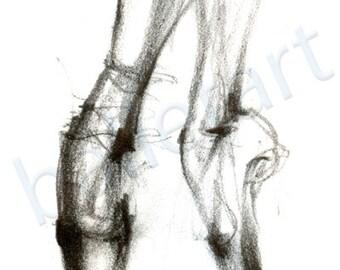 Ballet Art, Pointe Shoes, art print, pencil drawing, black and white art, dance teacher gift, dance gifts, ballet wall art, dance artwork