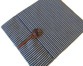 ipad Air / Nexus 9 / 1 2  3 Case / Cover / Kindle DX / Blue White Striped