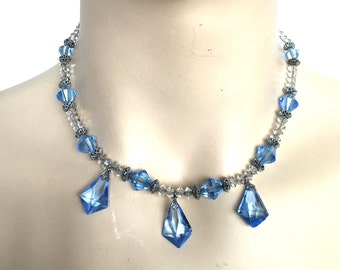 Beautiful Art Deco French Blue Crystal Sterling Silver Filigree Vintage Drop Swag Necklace