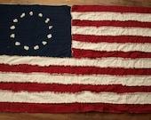 Original 13 American Flag Rag Lap Quilt in Country Colors - Navy Crimson and Cream