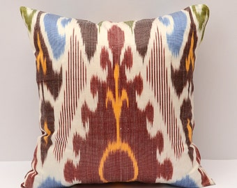 15x15 burgundy, pillow, cushion, ikat, burgundy ikat pillow cover,  eco textile, handmade ikat