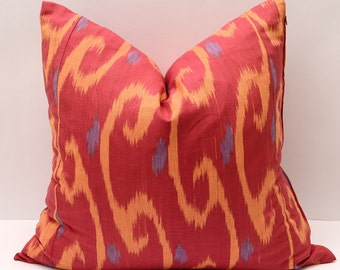 20x20 red cotton ikat pillow, eco textile, red cream, red orange blue ikat pillow cover