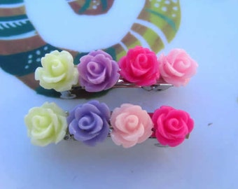 1cm rose flower - pink,cream, purple, hotpink  flower sakura, mum, rose French Barrettes 1.5inch 2pcs choose your own flower