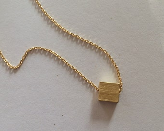 Tiny Gold Square Necklace...Silver Square Necklace...bridal party jewelry gift idea birthday