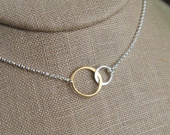 Interlocking rings necklace in sterling silver and gold filled, two linked circles, interlocking circles, mixed metals, silver and gold