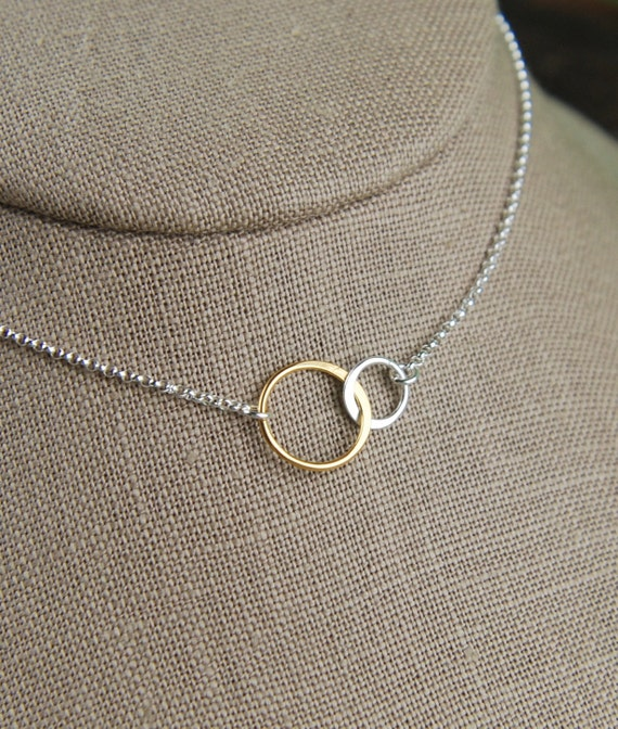 Interlocking Rings Necklace In Sterling Silver And Gold Two