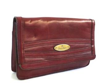 Vintage Etienne Aigner Oxblood Leather Clutch or Purse // Handmade