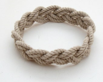 Turks Head Sailor Knot Bracelet woven narrow in Tan Cotton