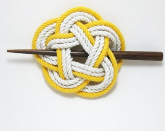 Sailor Knot Hair Stick Barrette in Yellow and White
