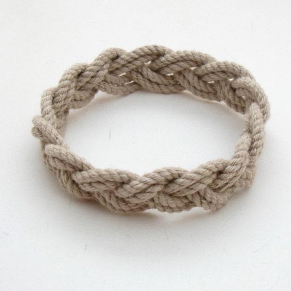 Turks Head Sailor Knot Bracelet woven narrow in Tan Cotton