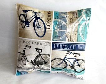 Cushion bike bicycle vintage feel pillow london postcard cover black green blue beige decorative pillow 18 x 18