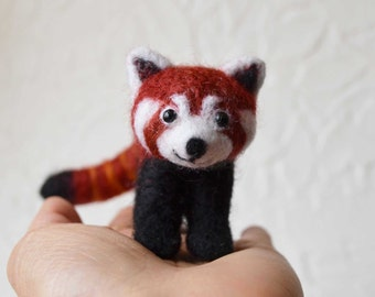 Percy the Red Panda, needle felted animal, wool art fiber sculpture