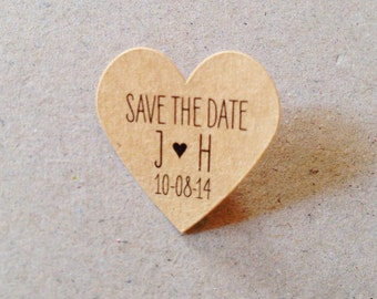 Wedding Favor Stickers Small Kraft Heart Stickers Custom Labels Kraft Save the Date Kraft, Mint, Baby Pink, Gold, White