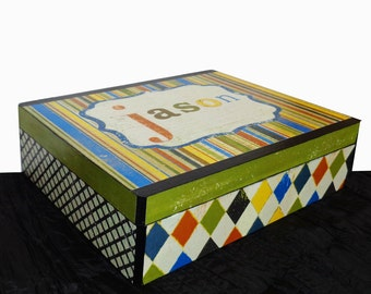 Personalized Boy's Memory Storage Box for School papers, photos, awards