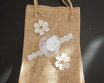 BURLAP GIFT BAG  Large Embellished