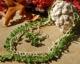 Necklace and Earrings of Green Turquoise and Glass Beads Handmade