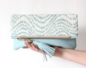 ELODIE leather clutch, fold over clutch in teal and blue