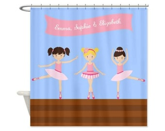 Ballerinas Personalized Kids' Shower Curtain - Girls, Ballet, Custom Shower Curtain