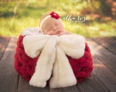 NEW Red Christmas Xmas Candy Cane Angel Wool Knit Reversible Newborn Photography Prop Bowl Unisex baby boy girl
