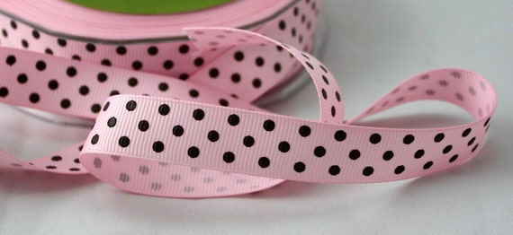 """Pink/Brown Grosgrain Ribbon, 5/8"""" wide Ribbon by the yard, Polka Dot Ribbon, Sewing, Nursery, Gift Wrap, Crafts, Party Supplies, Home Decor"""