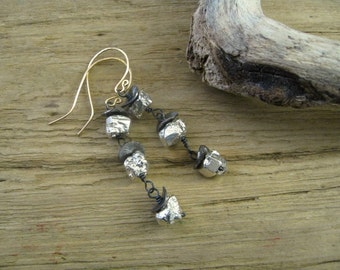 Oxidized Silver Modern Earrings, Pyrite Nugget Rough Gemstone Earrings, Contemporary Mix Metal Drop Earrings,  Modern Artisan Earrings