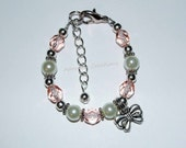 White Pearl & Rose Pink Crystal Bow Bracelet With Wire Upgrade