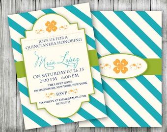 Printable Quinceanera Invitations - 15th Birthday Party Invitation - Aqua Stripes with Green And Orange Invite