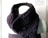 tube scarf - crochet -  black, Silver Sparkle, gothic, victorian, romantic, chunky, elegant