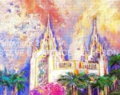 San Diego LDS Temple  16 x 20 Signed Giclee Canvas