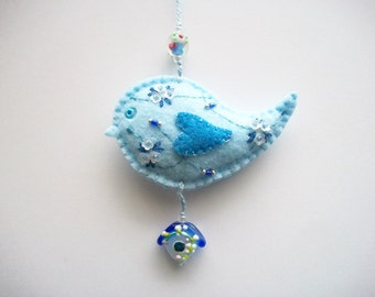 Felt Bird Ornament Light Blue Wall or Tree Hanging with Hand Embroidered Flowers and Lampwork Birdhouse Bead Handsewn