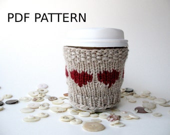 Heart Knitting Pattern, Coffee Cozy, Easy Knitting Pattern, Coffee DIY, Cup Cozy Knit, Coffee Cozy Template, Knit Your Own, Knit Pattern