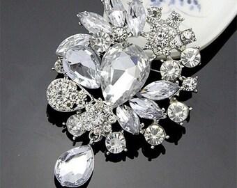 GB201 Crystal Rhinestone Brooch Pin Vintage Bridal  (GB201)