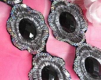 "GB143 REDUCED Black Silver Metallic Embroidered Jewel Trim Iron On 1.5"" (GB143-bksl)"