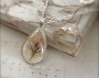 Pressed Flower Pendant Teardrop Dome Glass Pendant Necklace Silver Colour Gift for Her January Sale
