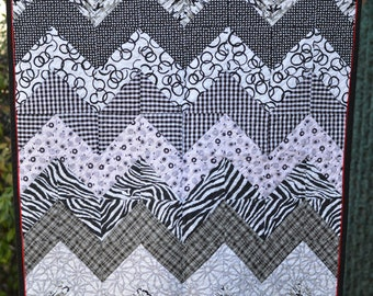 REDUCED PRICE! Black, White, Grey, & Red Chevron Baby Crib Quilt