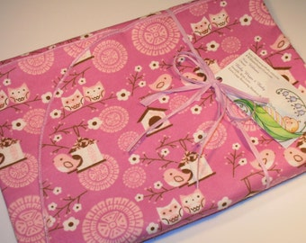Extra Large - Pink Lilac Owls and Bird House Flannel Receiving Blanket, Flannel Receiving Blankets, Baby Blankets, Swaddle Blankets, Newborn