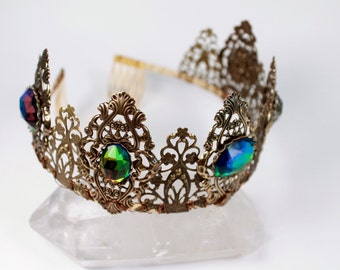 Vitrial Tudor Crown Renaissance Tiara Crown Antique Gold Filigree Medieval Game of Thrones