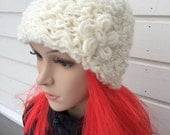 Knitted hat, handmade, winter beanie, woman knit hat,  gift, white with white flower, rose, ski hat, elegant  accessory