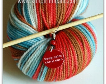 Keep Calm Carry Yarn Charm Stitch Marker (Red)