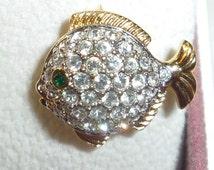 "Swarovski Crystal Fish Puffer Goldtone Lapel Pin .75"" long (1.25 cm) Swan Signed"