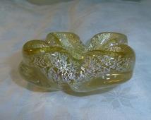 "Murano Art Glass Ashtray Yellow with Silver Flecks 4.5"" wide x 1.75"" tall"