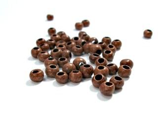 Round greek ceramic beads,brown beads, 5mm - 30 pieces