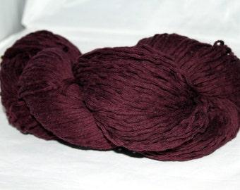 Recycled Yarn, Eggplant Purple Cotton Yarn, Worsted Yarn - 268 Yards